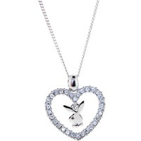 "Playboy Bunny Crystalline HOLLOW HEART Logo Dangle 16"" NECKLACE"