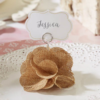Burlap Flower Place Card Holder (Set of 6)