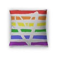 LGBTQ Flag With Heart Throw Pillow Case