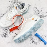 Off-White x Nike Air VaporMax White/Total Crimson-Black Running Shoes - Best Deal Online