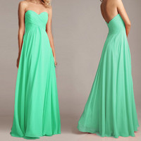 2014 New Mint Prom Dress Sweetheart Bridesmaid Dress Chiffon Prom Dresses Long Bridesmaid Dresses Formal Dress Sexy Strapless Wedding Dress