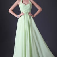 Chiffon Halter Floor Length Bridesmaid Party Gown Prom Ball Formal Evening dress