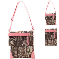 Pink Camouflage Messenger Bag with Tassel and Stud Accents