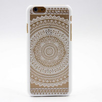 Clear Plastic Phone Shell White Floral Paisley Flower Mandala Case Cover for iPhone 5 5S SE 5C 6 6S 6Plus 6S plus + Gift Box