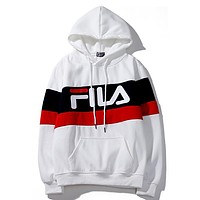 FILA 2019 new plus velvet men and women hooded sweater white
