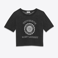 Black Short Sleeve SAINT LAURENT UNIVERSITÉ Fitted Ringer T-Shirt