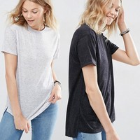 ASOS Linen Mix T-Shirt 2 PACK Save 15% at asos.com