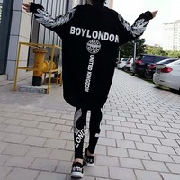 """Boy London"" Women Casual Personality Wing Eagle Letter Pattern Print Loose Long Sleeve Medium Long Section Sweater Dress"