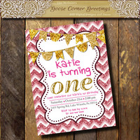Pink & Gold Glitter Girl Birthday Invitation 1st Birthday Sweet 16th Birthday Sparkle invitation Digital file or printed