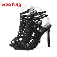Stiletto Heels Strappy Sandals Summer shoes Black nude pumps high heels Sandals Wedding Bride Shoes Prom Party Open Toe D553