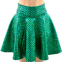 Emerald Green Holographic Skater Mermaid Scale Circle Skirt