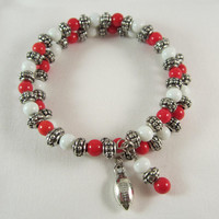 Arkansas Razorbacks, Red and White Beads, Football Charm, Memory Wire