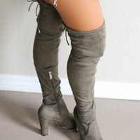 DCK7YE Sparks Fly Olive Thigh High Boots