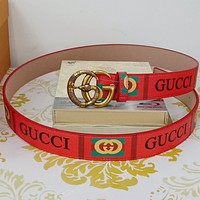 GUCCI Fashion Men Woman Snake Buckle Leather Belt Red