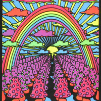 Field of Shrooms Blacklight Reactive Cloth Wall Hanging