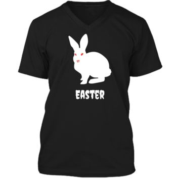 Evil Easter Bunny Rabbit Anti Holiday Pastel Goth Shirt Top Mens Printed V-Neck T