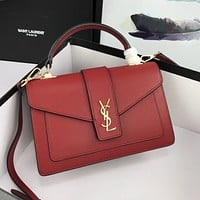 ysl newest popular women leather handbag tote crossbody shoulder bag satchel burgundy 24