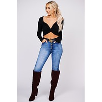 The Night Is Yours Twist Back Crop Top (Black)