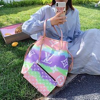 LV Louis Vuitton Tie-Dye Women's Shopping Bag Handbag Two-Piece Set