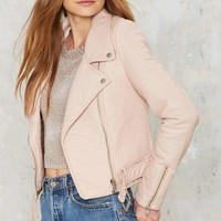 Nasty Gal Atomic Vegan Leather Jacket - Blush