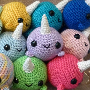 Choose Your Own Big Narwhal - ANY COLOR, Made to Order - Amigurumi Crochet Plushie