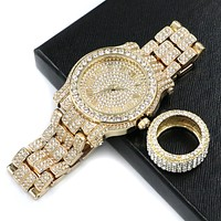 HIP HOP RAONHAZAE LIL G GOLD FINISHED LAB DIAMOND WATCH & RING SET.