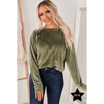 Soft To The Touch Velvet Sweatshirt (Olive Grove)