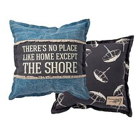 There's no place like Home | Throw Pillow | 15 x 15 | Modern Coastal Decor | Beach House | Beach Umbrella | Primitive Decor | Coastal Pillow