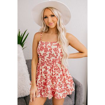 We Meet Again Open Back Romper (Cranberry)