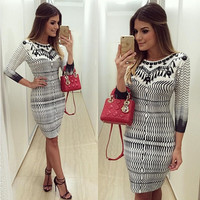 New Slimming Autumn 3/4 Sleeve Printing Package Hip Sexy Long Dress for Women = 1842250756