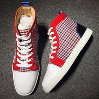 DCCK Cl Christian Louboutin Leather Mid Style #2165 Sneakers Fashion Shoes