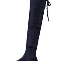 Blue Lace Up Back Stretch Velvet Over The Knee Boots