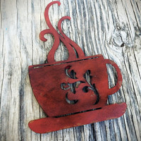 Laser Cut Metal Coffee Cup Kitchen Wall Art - Shabby Chic Rustic French Country Decor