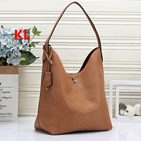 LV Louis Vuitton Fashion Leather Tote Solid Color Shopping Leisure Handbag Shoulder Bag Women Satchel Brown