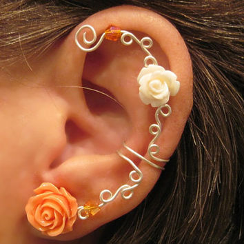 "1 Non Pierced Cartilage Ear Cuff ""Roses are Sweet"" Conch Cuff Silver tone"