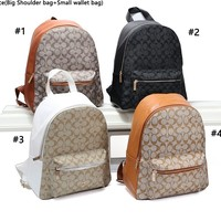 Coach fashion casual lady's backpack is a hot seller of shopping backpacks with printed patchwork color