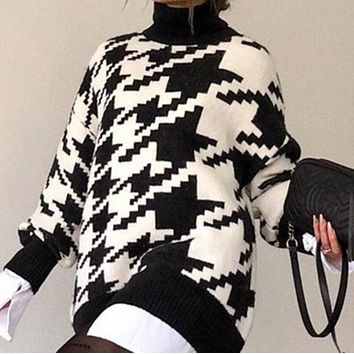 New geometric houndstooth knitted casual retro pullover sweater