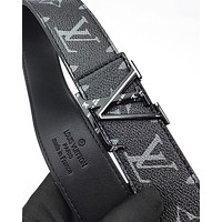 LV fashion hot selling printed belt printed buckle casual belt for men and women Black Belt+Silvery Buckle