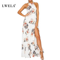 LWELA 2017 floral print  summer dress Women beach casual long dress Sexy halter backless maxi dress female vestidos