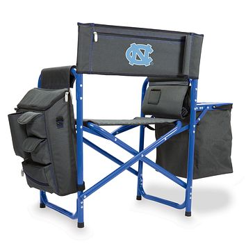 North Carolina Tar Heels - Fusion Backpack Chair with Cooler, (Dark Gray with Blue Accents)