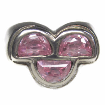 Vintage 90s Sterling Pink Ice Ring Size 8