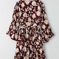 AEO Full Wrap Fit & Flare Dress, Burgundy