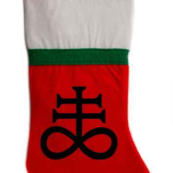 "Leviathan Cross Christmas Holiday Stocking 16"" Red/White Felt Hanging Sock Santa Stuffer Merry Gothmas"