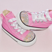 Customised Pink Crystal Converse Chuck Taylor All Star Converse High Tops Rainbow Crystal AB Bows UK Infant Size 4 Kids Baby Girl
