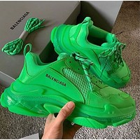 Balenciaga Hot Fashion Retro Transparent Thick-soled Daddy Shoes Green