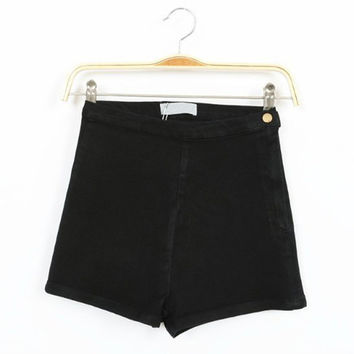 Apparel Solid Side Zipper High Waist Short