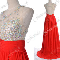 2014 Red Prom Dresses, Red Formal Dresses, Straps Lace/ Crystal Long Chiffon Prom Dresses with Open Back, Wedding Party Dresses