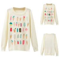 Icecream Printed Knit Long Sleeve Pullover Sweater