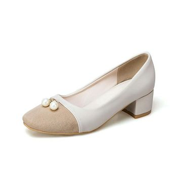 Shallow-mouth Colour Matching Large Size Women's Pumps Middle Heels Shoes