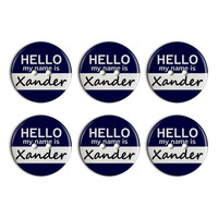 Xander Hello My Name Is Plastic Resin Button Set of 6